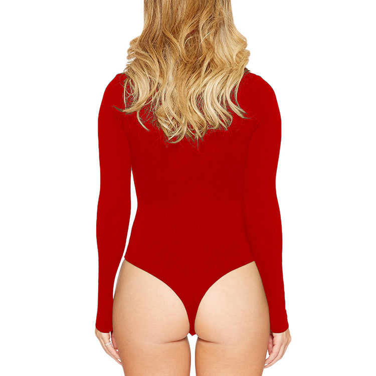 Long-Sleeved Round Neck Cheap Bodysuit Romper For Woman
