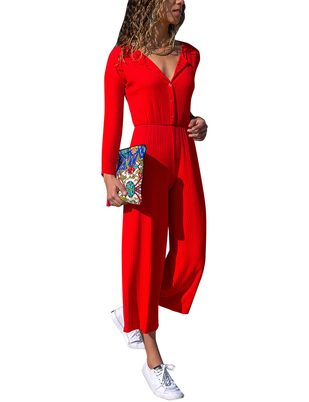 Long Sleeve Red Half Button Plain Jumpsuit