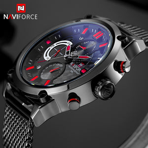 NAVIFORCE Black Mesh Steel Watch