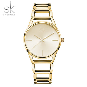 Shengke Ultrathin Stainless Steel Bracelet Quartz Wristwatch
