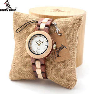 BOBO BIRD Women Quartz Watches with Full Wooden Band in Gift Box
