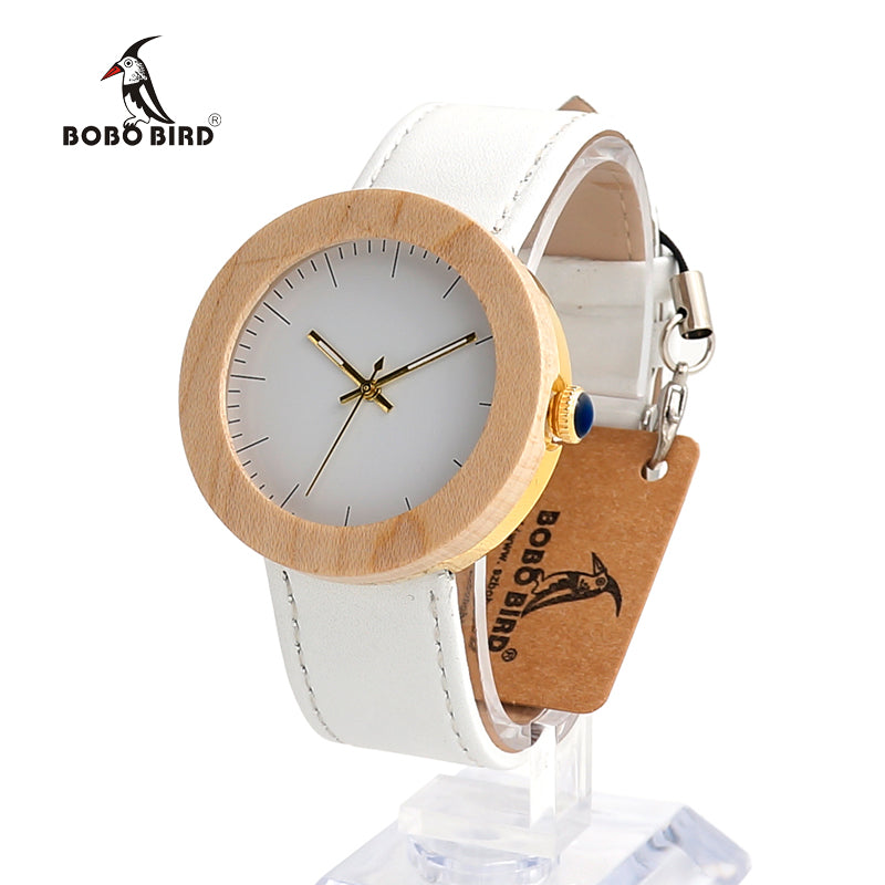 Simple White Stainless Steel Maple Wood Wristwatch