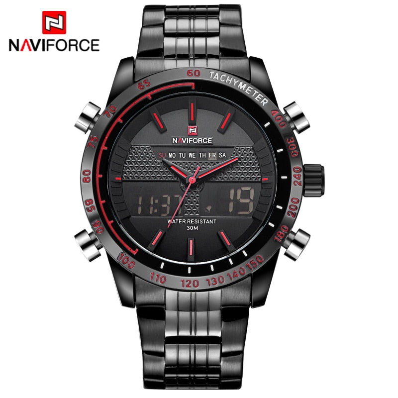 NAVIFORCE Full Steel Men's Analog LED Digital Military Wrist Watch