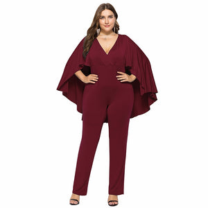Jumpsuit Plunge V Neck Batwing Sleeve Cape Back Long Pants Autumn Casual Female Playsuit Rompers