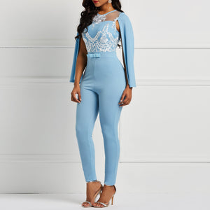 Women Sky Blue Spring Summer Cape Sleeve Romper Floral See Through Lace Patchwork Backless Office Lady Long Harem Pants Jumpsuit