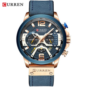 CURREN Watch for Men Blue Leather Fashion Chronograph Wristwatch