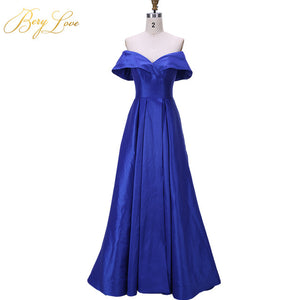 Simple Royal Blue Evening Dresses 2019 - High Slit