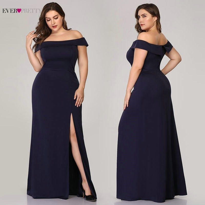 Plus Size High Split Sexy Evening Dresses Long Ever Pretty