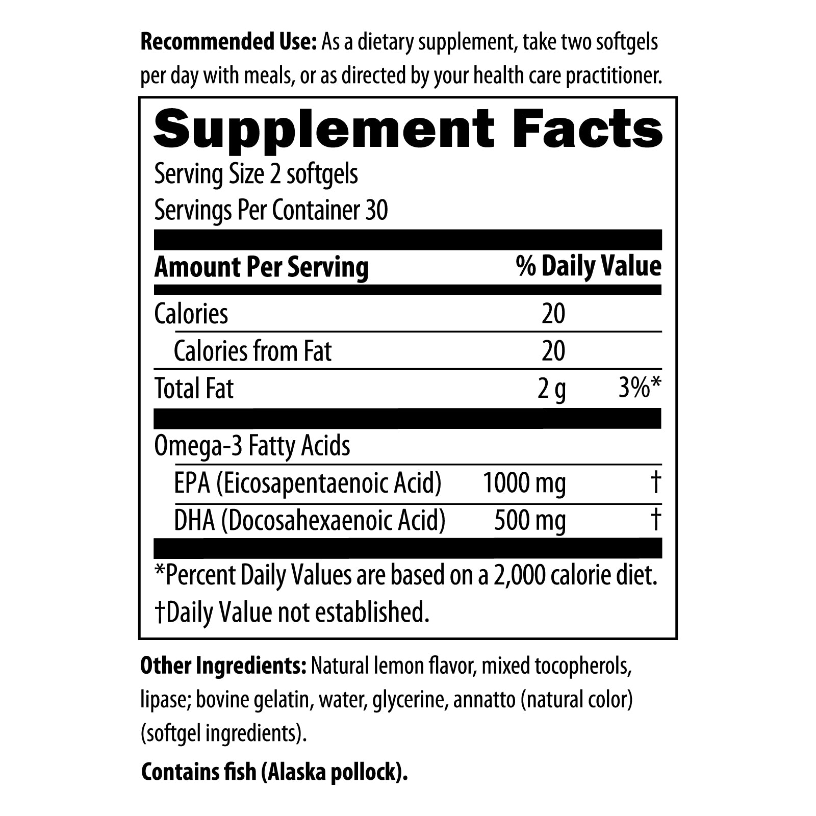 Fish Oil Epa Dha Synergy 60 softgels Nutrition Facts