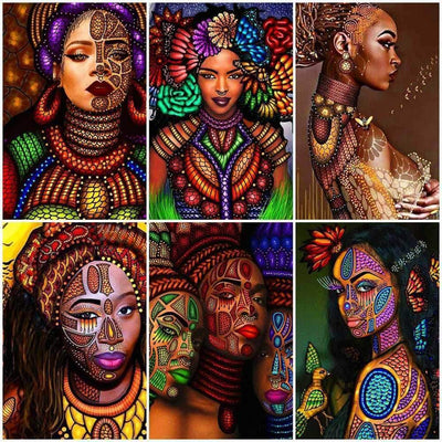 1 / Square Drill 40x50 Cm / 16x20 Inch African Women Diamond Painting