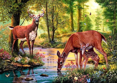 12x16 inches Deer Family Square Diamond Painting