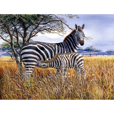 12x16 inches Zebra Family Square Diamond Painting