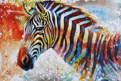 12x16inches Lonely Zebra Square Diamond Painting