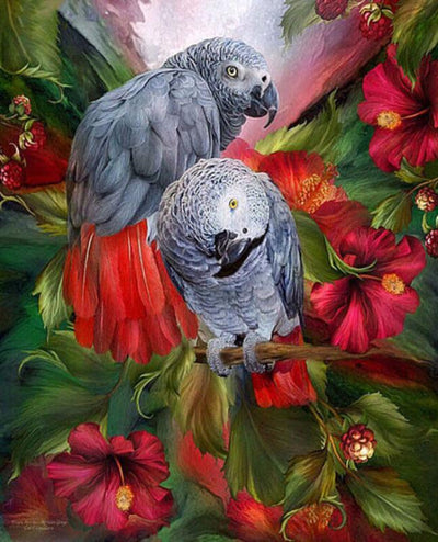 12x16inches Lover Parrot Square Diamond Painting