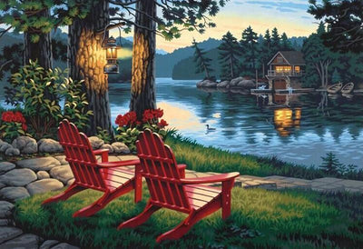12x16inches Two Chairs Beside The Lake Square Diamond Painting