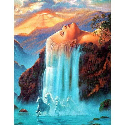 12x16inches Waterfall Horse Square Diamond Painting