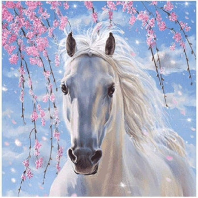 12x16inches White Horse Square Diamond Painting