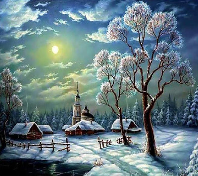 12x16inches Winter Village Square Diamond Painting