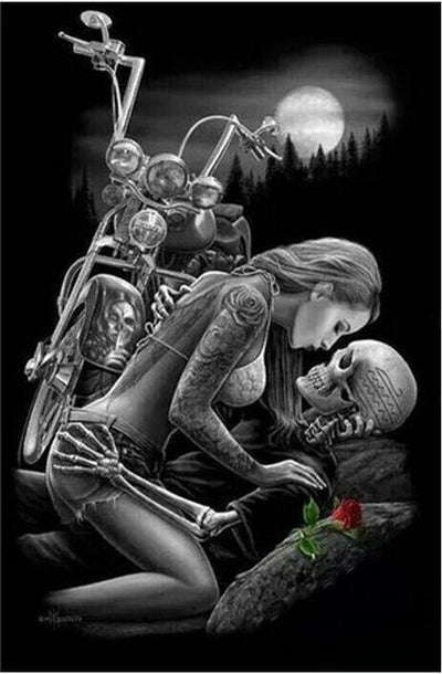 12x18inches Skull lover & Motorcycle Square Diamond Painting
