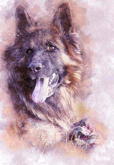16x12inches Clever German Shepherd Dog Square Diamond Painting