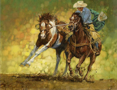 16x12inches Cowboys Train Horse Square Diamond Painting