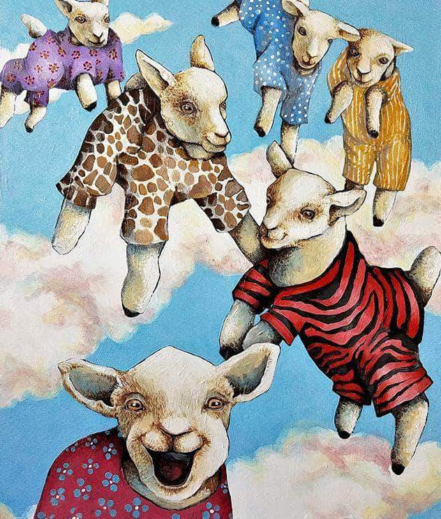 16x12inches Goats In Heaven Square Diamond Painting