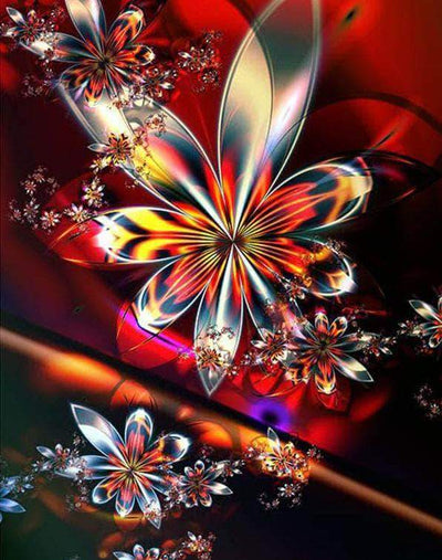 16x12inches Golden Butterfly Flower Square Diamond Painting