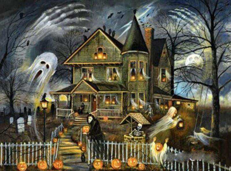 16x12inches Halloween Haunted House Square Diamond Painting