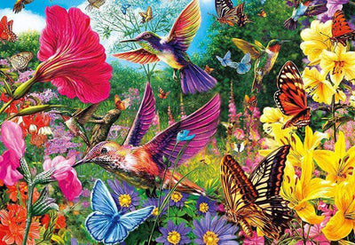 16x12inches Hummingbirds And Butterflies Flutter Among A Garden Square Diamond Painting