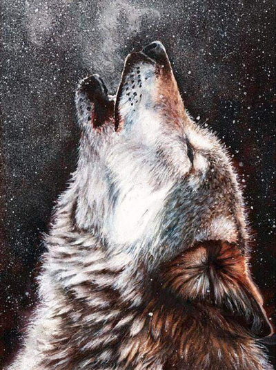 16x12inches Lonely Wolf Howling In Snow Square Diamond Painting