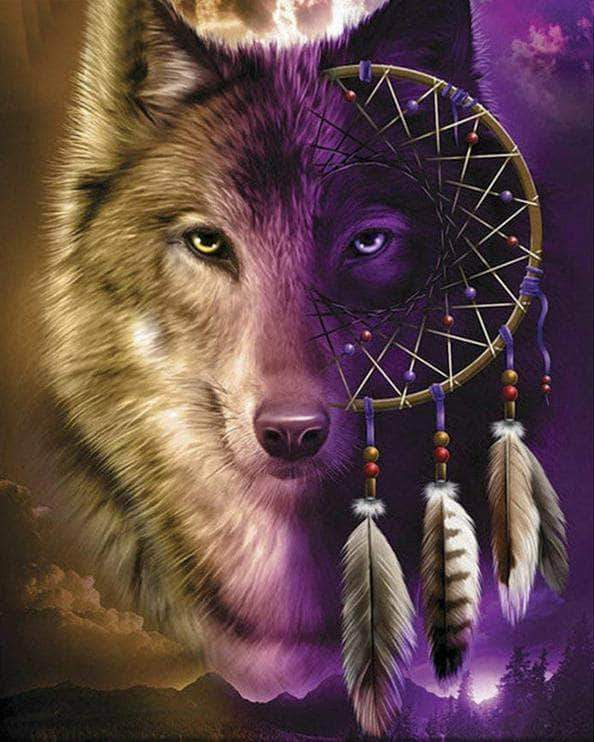 16x12inches Purple Wolf Dreamcatcher Square Diamond Painting
