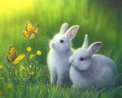 16x12inches Rabbit&Butterfly Square Diamond Painting