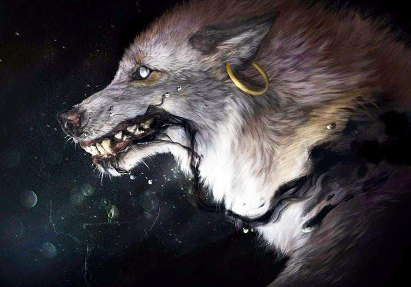 16x12inches Space Wolf Square Diamond Painting