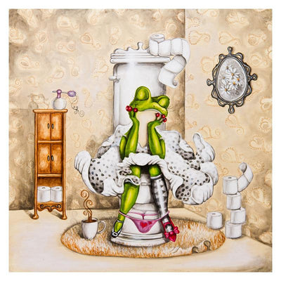 16x16inches Frog on Toilet  Square Diamond Painting