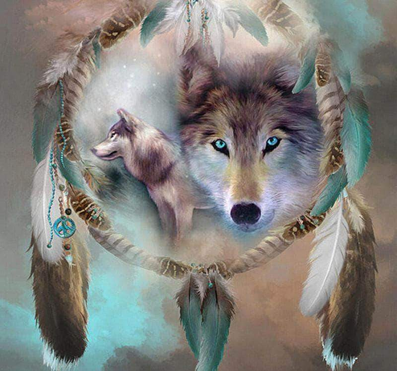 16x16inches Wolf Dream Catcher Square Diamond Painting