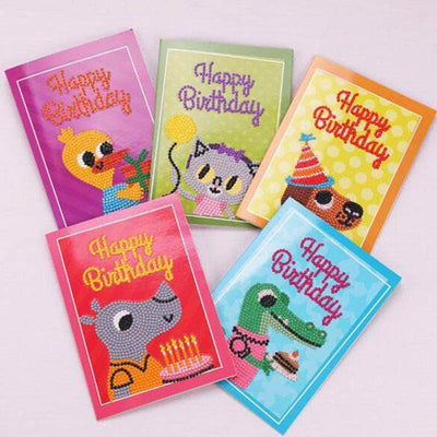 26x18 Cm/ 10.4x7.2 Inch / 5pcs Happy Birthday Cards Round Diamond Painting