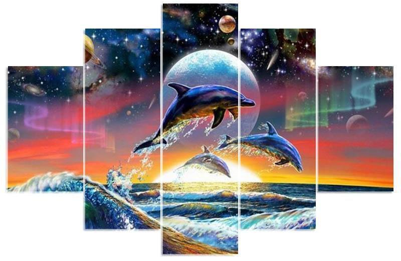 8x14 inches x2, 8x22 inches x2, 8x26 inches x1 Dolphin Jumping Multi-DIamond Painting