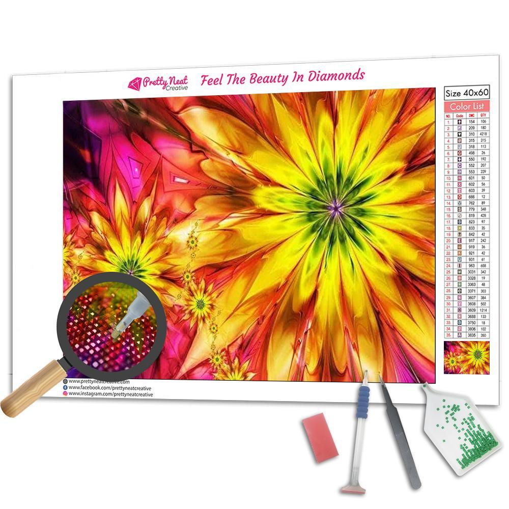 Abstract Sunflower Square Diamond Painting