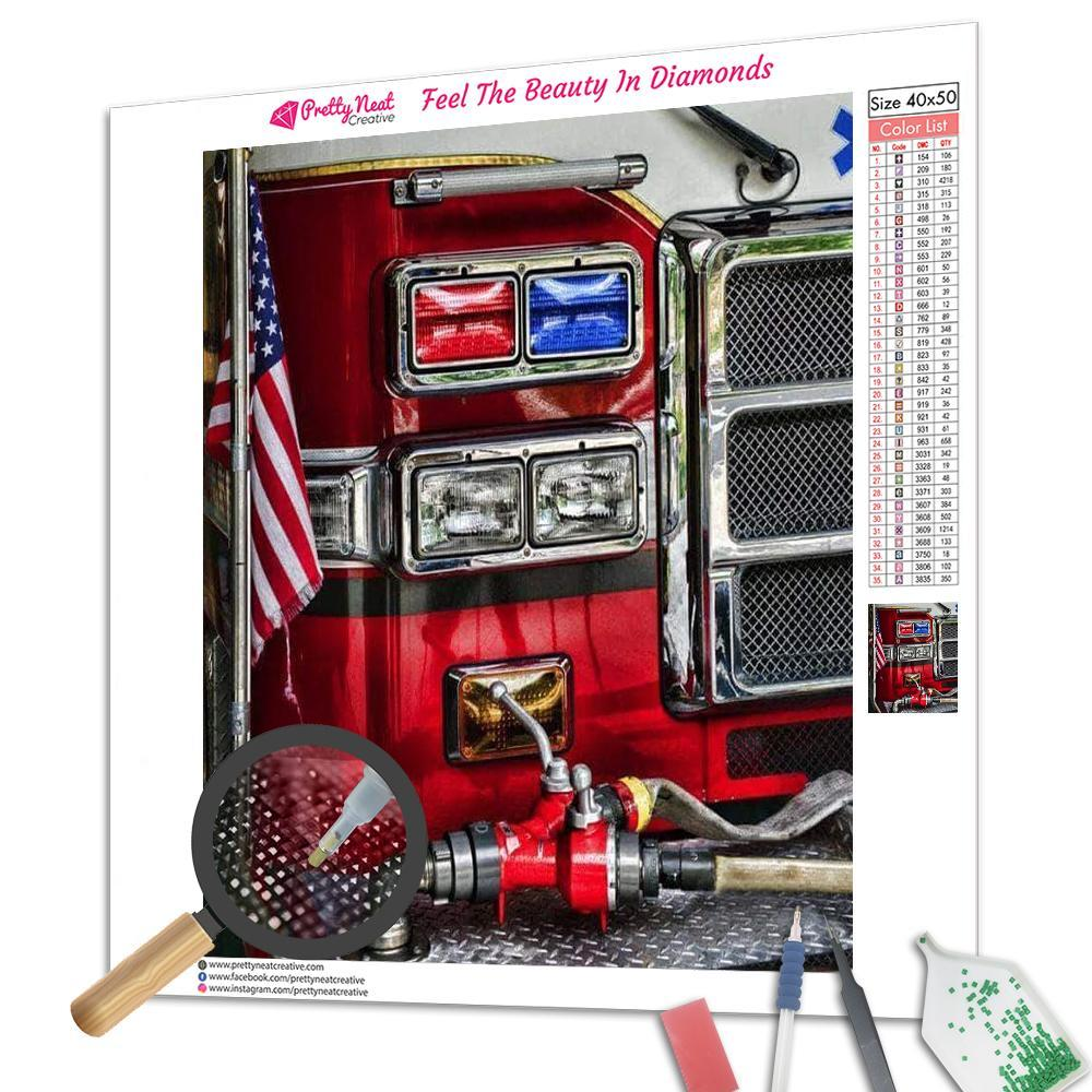 American Fire Truck Square Diamond Painting