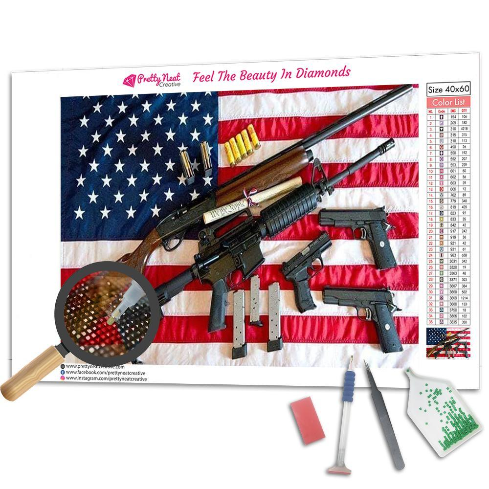 American Flag With Guns Square Diamond Painting