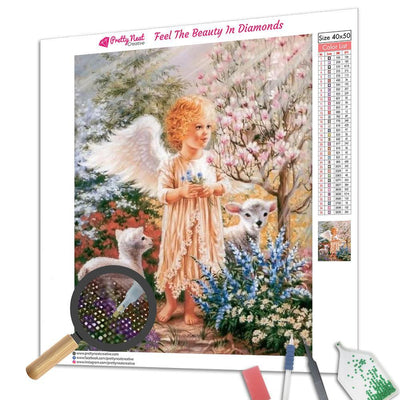Angel and Lambs Square Diamond Painting