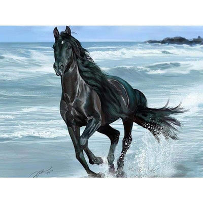 Black Horse Square Diamond Painting