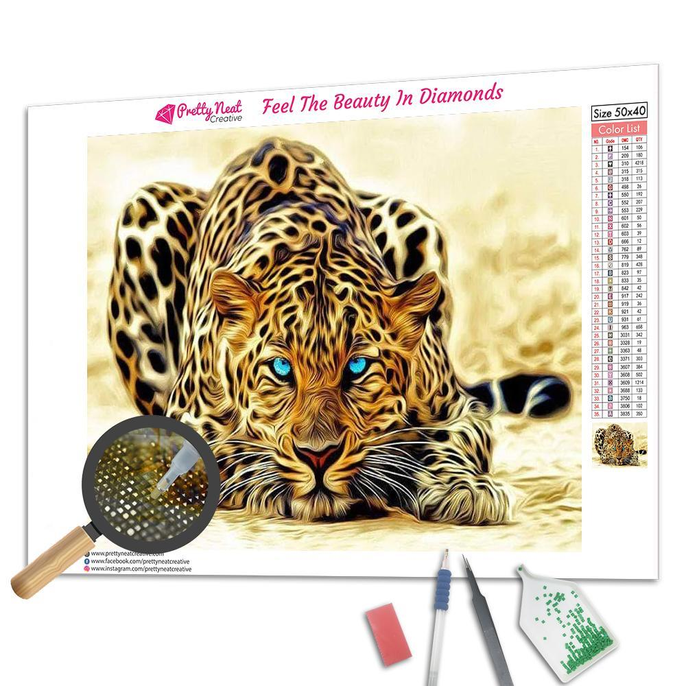 Blue Eyes Leopard Square Diamond Painting