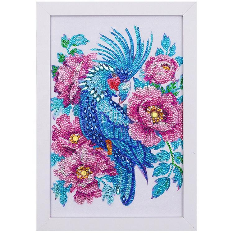 Blue Parrot With Flowers Diamond Painting With Frame 20*30cm