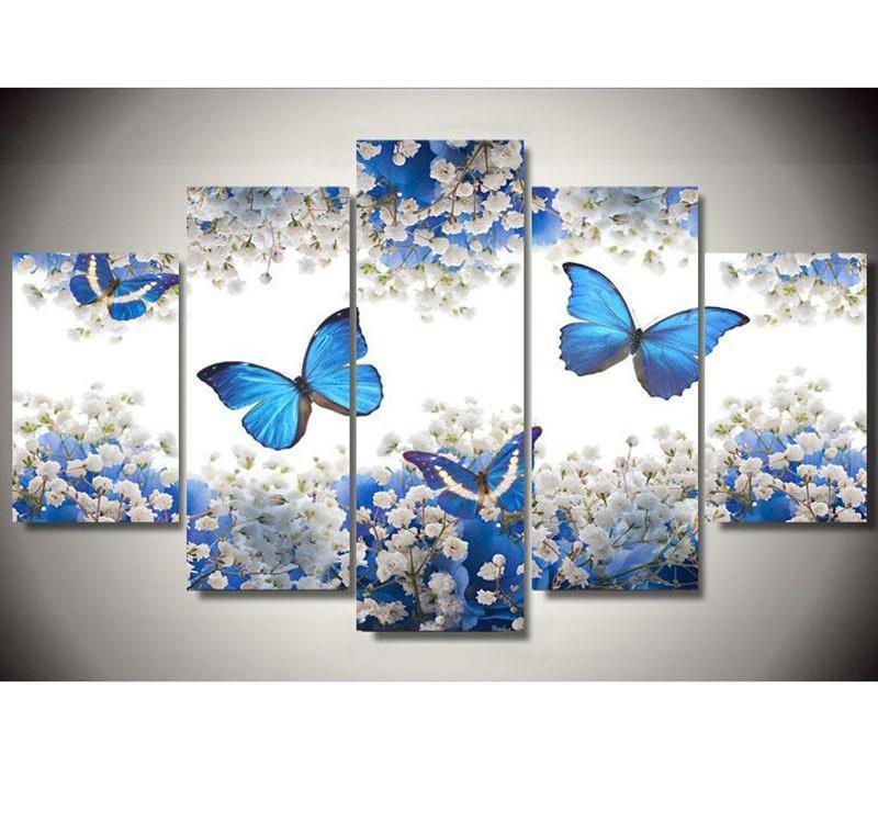 Butterfly & Flower - 5 Panels