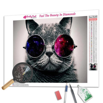 Cat Space Glasses Diamond Painting