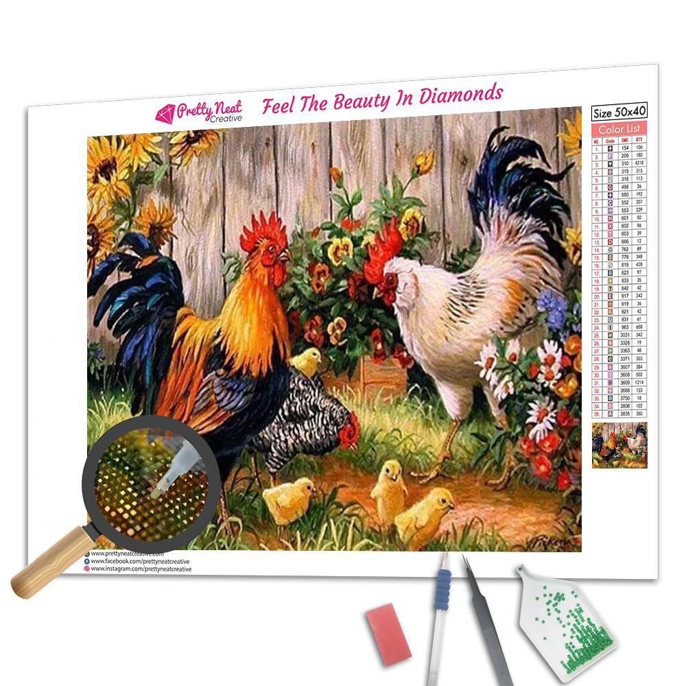 Chickens In Garden 5D Square Diamond Painting