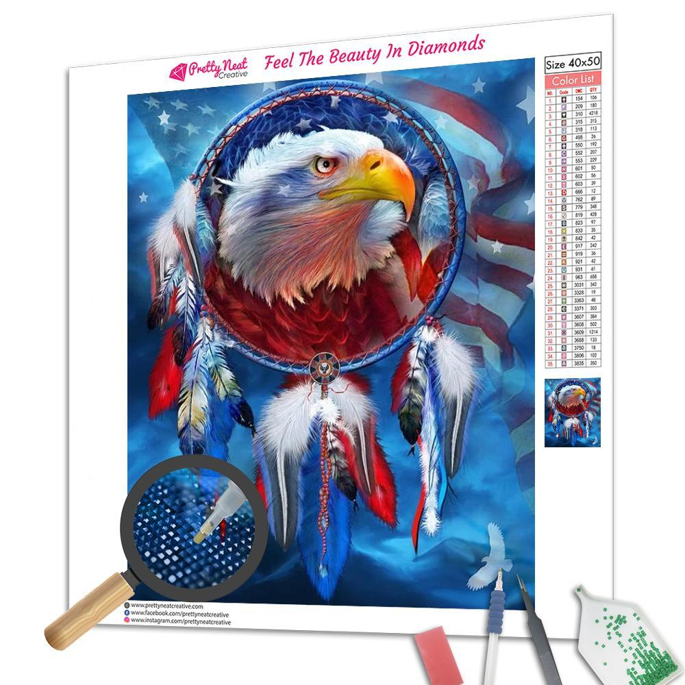 Clearance - American Eagle Dream Catcher Diamond Painting