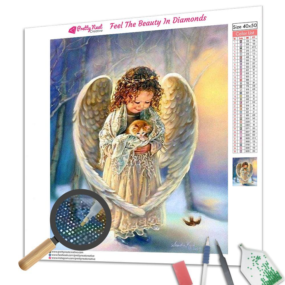 Clearance - Angel & Kitty 5D Square Diamond Painting