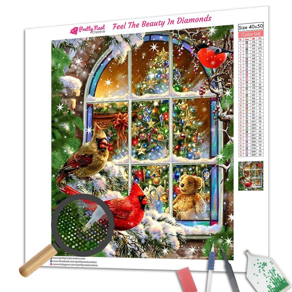 Clearance - Cardinal Christmas Tree Square Diamond Painting